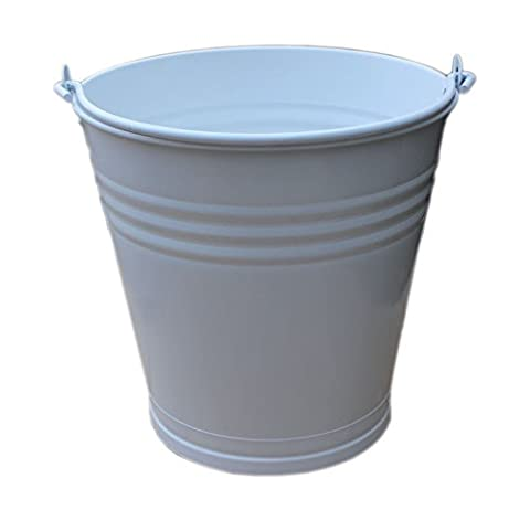 Large Galvanised Powder Coated Metal Bucket with Drainage Hole Ideal for Plant Pot / Indoor / Outdoor / Garden / Planter (White)