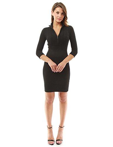 PattyBoutik Damen Stehkragen Empire-Taille V Ausschnitt Strickkleid mit 3/4 Ärmeln und Zopfmuster (schwarz 36/S)