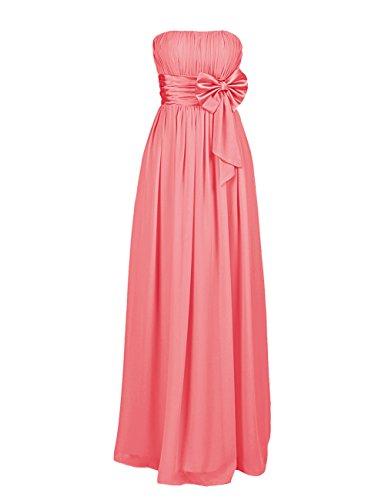 Dresstells, Robe de soirée avec nœud à boucles, robe de cérémonie sans bretelles, robe longue de demoiselle d'honneur Corail