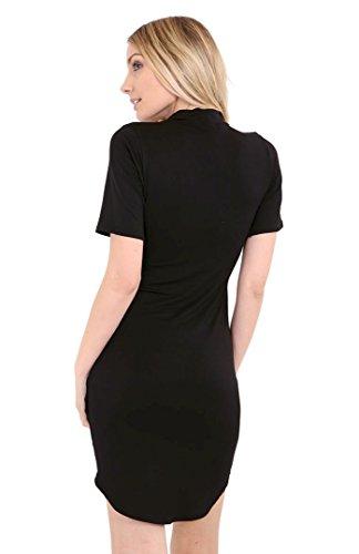 Fast Fashion - Plaine Foulard V Cou Incurvé Ourlet Bodycon Robe - Femmes Noir