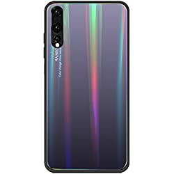 Huawei P20 Pro Case, Anti-Scratch Tempered Glass Back Cover + TPU Frame Hybrid Shell Slim Case Silicone Shockproof Cover for Huawei P20 Pro (Huawei P20 Pro, Gray)