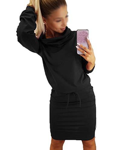 Ajpguot Damen Freizeit Kleid mit Gürtel Elegant Rundhals Midi Kleider Blusenkleider Ballkleid Festkleid Frauen Langarm Tasche Wickelkleider Abendkleider Partykleid, Schwarz, M (Langarm 2 Stück Kleid Bodycon)