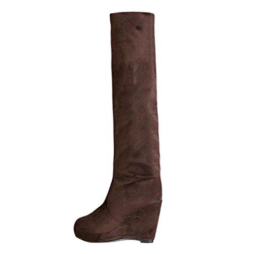 37 , Brown : Fashion Women Boots Warm , YOYOUG Women Winter Warm Wedges Over the Knee High Heel Platform Boots Shoes