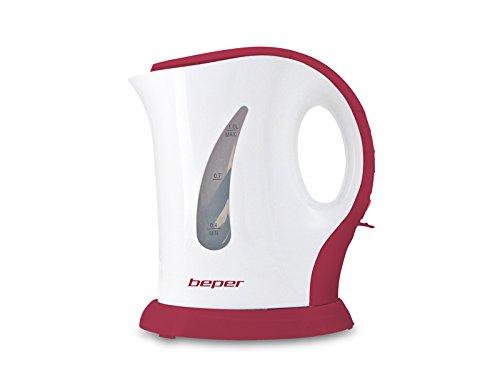 Beper elettrico 1 litro, plastica, spegnimento protezione, bollitore automatico per acqua,tè,tisane, 950 w, 7 cups