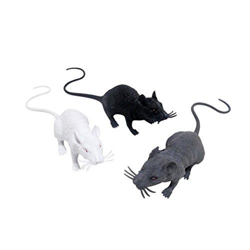 TOYMYTOY 3 stücke Realistische Mäuse Spielzeug Spuk Ratte Spielzeug Halloween Streich Spielzeug für Halloween Dekoration (Schwarz Weiß Grau)