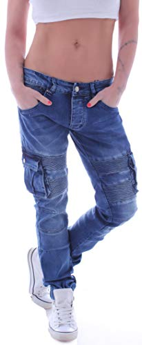 Damen Unisex Cargojeans Boyfriend Jeans Hose Cargo Baggy Hüftjeans Übergröße Blau L 40 gr größe Size Übergrößen Baggys Diverse Haremsjeans Baggypants Stretch mom Loose Fit Tief Taschen Cargos Cut Denim Baggy Jeans