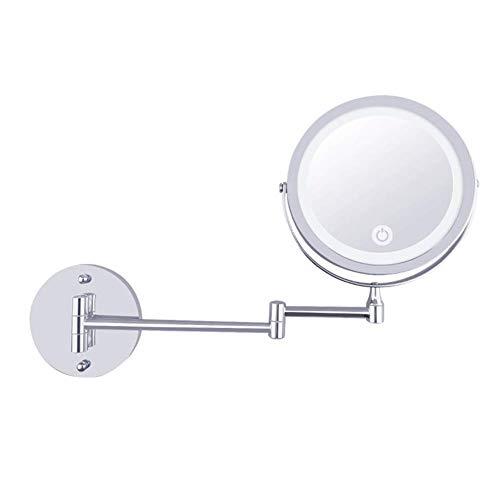 Makeup Mirror Kosmetikpiegel Wandhalterung LED Beleuchtet Schminkspiegel 10X/1X Vergrößerung USB Berührungsempfindlicher Bildschirm 360 ° Erweiterbar Bad Spa Hotel Wenaqin - Schwanenhals Vanity Licht