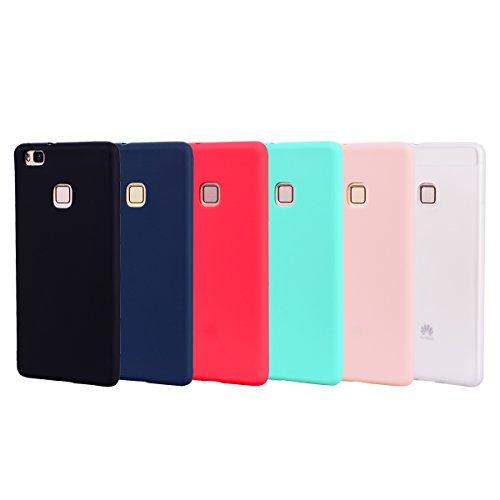 Heremore 6 x cover per huawei p9 lite, custodia morbido opaco in matt silicone gel tpu anti-graffio antiurto cover protezione case - nero,rosso,blu scuro,rosa,verde,bianca
