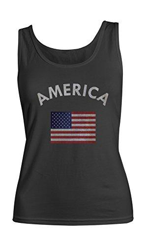 America American USA Flag Femme Tank Top Debardeur Noir