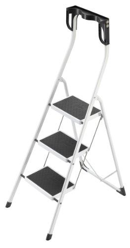 Hailo Safety Plus, Stahl-Klapptritt, 3 Stufen, hoher Sicherheitshaltebügel, Ablageschale, Klappsicherung, belastbar bis 150 kg, 4343-001