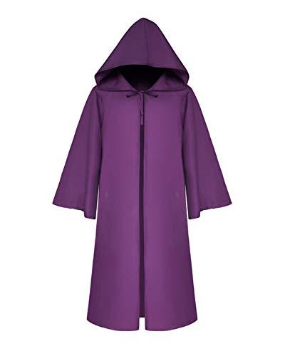 (Halloween Für Erwachsene Umhang Cosplay Theater Prop Tod Mit Kapuze Mantel Fantasie Kostum Violett Kind L)