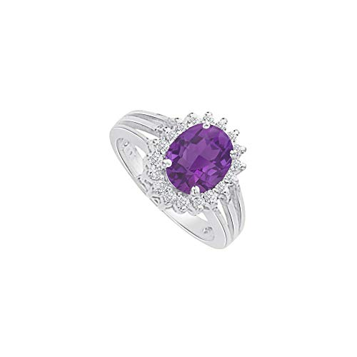 Amethyst and CZ Halo Split Shank Ring in 14K White Gold
