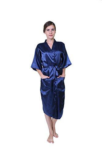Keynis Damen Kimono lang Morgenmantel Satin Negligee Nachtwäsche Seidenrobe (XXL, Dunkelblau) (Shopping-kimono Roben)