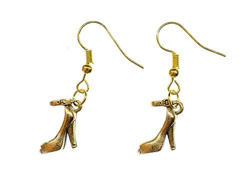 Pumps mit Riemchen Ohrringe Hänger Miniblings Stöckelschuhe High Heels gold