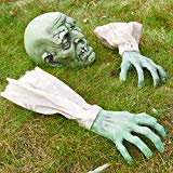 Prextex Halloween Zombiegesicht und Arme als Rasenpfähle für das Beste Friedhofdekor zu Halloween
