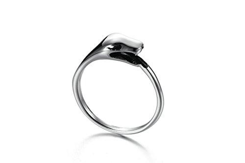Gnzoe Gioielli anello da uomo acciaio inossidabile bande anello Lucido Argento 6.7MM Misura 17
