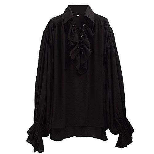 (GRACEART Herren Pirat Hemd Kostüm (Black, Large))