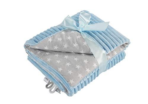 EliMeli Babydecke Kuscheldecke junge Krabbeldecke 75x100 | Ultraweicher Gestreifter Microfaser-Plüsch Stoff aus Baumwolle | Füllung | hoch Qualität | ideal als Kinderwagendecke (Blue - Stars)