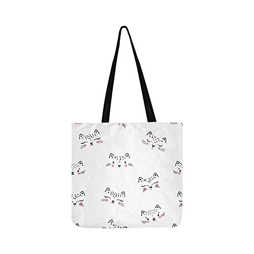 Nette grafische Katze Gesicht Hand Draw Canvas Tote Handtasche Schultertasche Crossbody Taschen Geldbörsen für Männer und Frauen Einkaufstasche