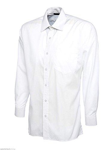 Camicia da uomo a maniche lunghe, taglio classico, in popeline, tutte le taglie/colori White