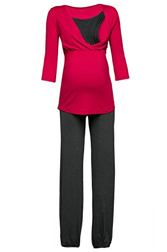 Happy Mama. Damen Umstandspyjama Stillfunktion Stillschlafanzug 3/4 Ärmeln. 060p (Himbeere & Graphit Melange, EU 40, L) (3/4-Ärmel-empire Top)