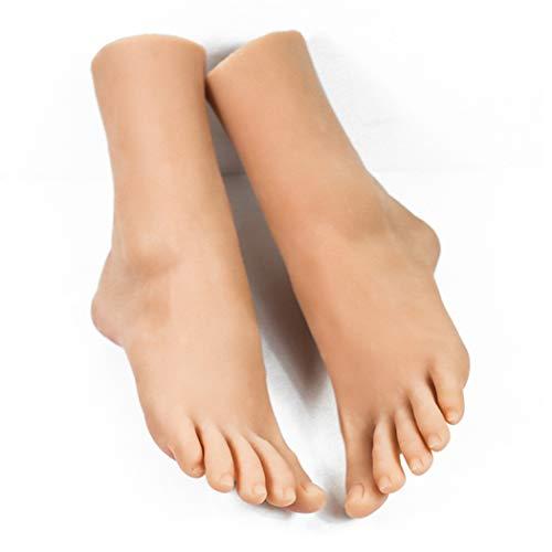 MSFLY Weiches Silikon-weibliches Fuß-Mannequin für Fußkettchen-Schuh-Socken-Sandalen-Anzeigen-Lebensgröße 37,skincolor,apair -