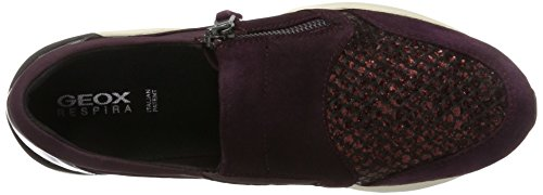 Geox Damen D Omaya A Sneaker Violett (Prune/Dk Burgundy)