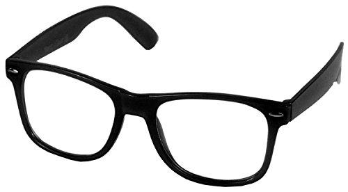 Oramics Brille ohne Stärke für Herren und Damen, Hornbrille in Schwarz mit UV Schutz 400, Brille im Wayfarer Design mit klaren Gläsern (1x Schwarze Nerd Brille)