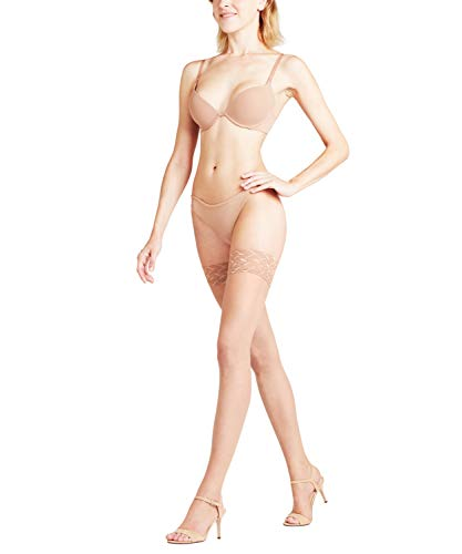 FALKE Damen Ultra-transparente halterlose Feinstrümpfe Shelina Toeless 12 Denier Stay Ups Zierspitze, Sun, 8.5-9 - 120 Denier Strumpfhose