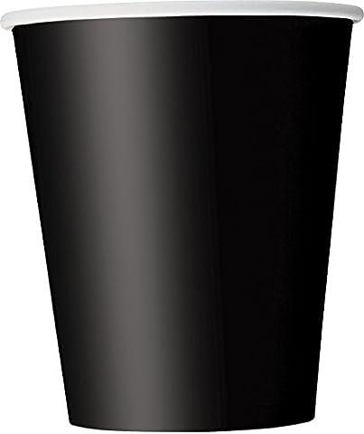 Tankerstreet jetables Tasses de papier Noir pour boissons chaudes froid, gobelets en papier Fête les pique-niques 255,1gram Lot de 8(Noir)