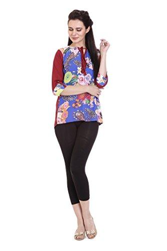 Goldstroms Minelli Women's Cotton Rayon Fabric Short Kurti (Medium, Red)
