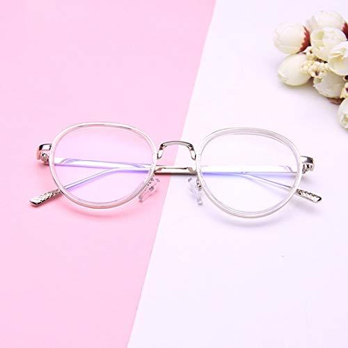 Shiduoli Brillengestell aus Kunststoff mit rundem Brillenglas Brillengläser Unisex stilvolle Brillen ohne Rezept (Color : Clear)