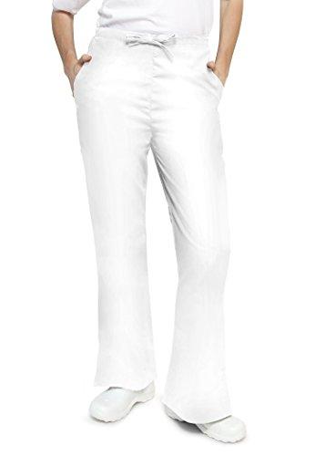 Adar Universal Flare Bein natural-rise Kordelzug Hosen Petite Gr. Small, weiß (Uniform Kordelzug Elastische Taille)