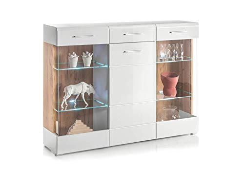 HTI-Living Highboard Rhodos Kommode, Weiß Wildeiche NB