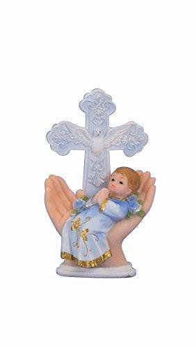 Tortenaufsatz Tortenfigur Dekofigur Baby Tauffigur Taufe Geburt in Händen mit Kreuz | 11,5 cm (Junge-Hellblau)