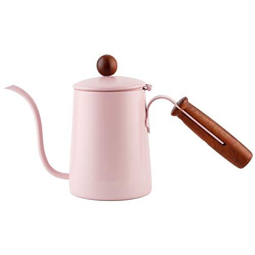 YXXHM- Original Massivholzgriff Handkaffeekanne, feiner Mundtopf, Tropftyp, Langer Mund, Edelstahl Kaffeekanne Rose