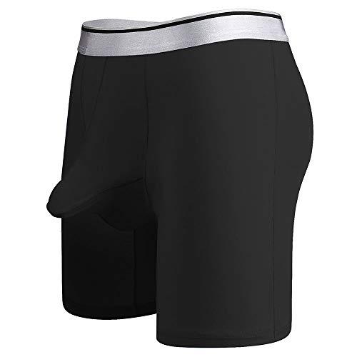 Weaton Herren Sportwäsche, Herren Ice Silk Flat Angle Scrotum Tow Bag Abnutzungsfreie Beine Long Plus Dünger Four Corner Pants, Separates Design, XL-7XL ist optional, geeignet für 45-1135 KG (Baumwoll-leggings Hanes)