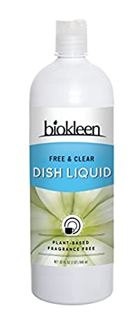 Biokleen Natural Dish Liquid, Free & Clear, 32 Ounces (Pack of 12)