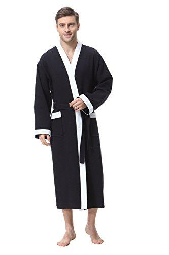 COSMOZ Bademantel Herren Kimono Waffelpiqué Morgenmantel aus 100% Baumwolle, Schwarz, L
