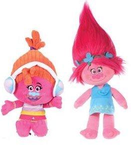 Trolls - Pack 2 plüsch Princess Poppy 37cm (rosa) und Dj Suki (orangenen) - Qualität super soft - Rosa+naranja
