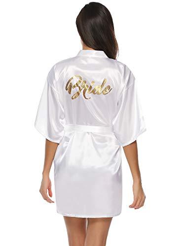 Aibrou Damen Kimono Morgenmantel Kurz Satin Robe Bademantel Nachtwäsche Sleepwear V Ausschnitt mit Gürtel für Party Hochzeit Braut Weiß L - Mäntel Weiße