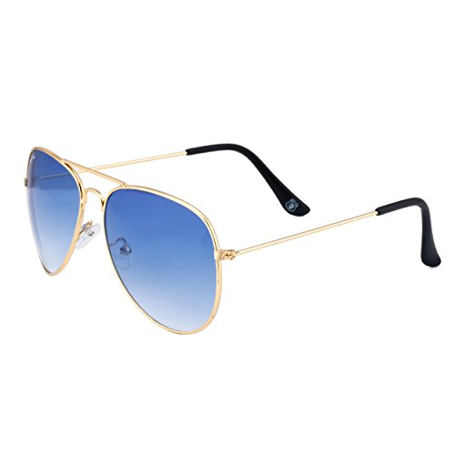 Royal Son UV Protected Aviator Unisex Sunglasses (RS002AV|58|Blue Lens)