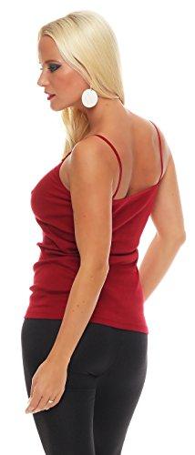 2er Pack Damen Unterwäsche mit Spitze (Unterhemd, Träger-Top, Shirt) Nr. 421 ( Blau-Rot / 56/58 ) - 7