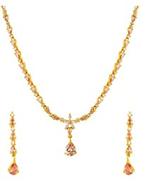 Voylla Traditional Brass With Yellow Gold Plated Cubic Zirconia Necklace Sets For Women