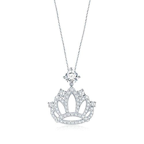 Gnzoe Schmuck 18K Gold Damen Diamant-Halskette Krone Anhänger Claviclekette mit Diamant Silber-BJin-30D
