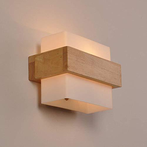 Lampada da parete, vintage industriale retro applique da parete lampada a muro supporto legna art deco e27 base per bar, camera da letto, cucina, ristorante, caffè, corridoio (a)