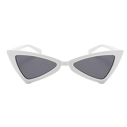 Zilosconcy Sonnenbrillen Frau Triangle Cat Eye Sonnenbrille Sonnenbrille B weißen Rahmen graue Tabletten Frauen Vintage Cateye Frame Shades Acetat Rahmen UV Brille ()