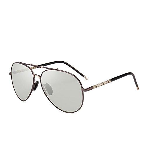 Yiph-Sunglass Sonnenbrillen Mode Männer Pilot Photochromic Sonnenbrille HD Polarisierte Tag Farbe ändern für Schneelicht Top-Qualität Shades Chameleon Sonnenbrillen (Color : Gun)