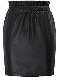 81ffc28480 Mujeres con Volantes de Cintura elástica con Volantes de Piel sintética  Envuelto en un Vestido Ajustado Lápiz Falda…