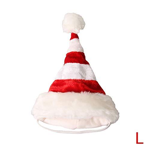 Domire Rote und weiße gestreifte Katze-Kätzchen-Welpen-Weihnachten Sankt-Hut und Fliege Kragen Hundezubehör Tierbedarf L Größe (Gestreifte Rot Hut)